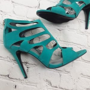 Teal Strappy Hight Heel Pumps
